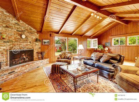 luxury log cabin house interior living room