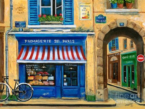 Parisian Duvet Cover French Cheese Shop Painting By Marilyn Dunlap