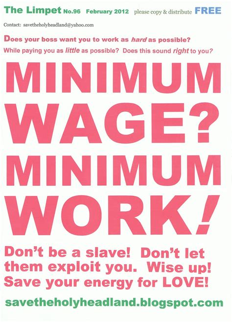 who works for minimum wage save the holy headland minimum wage minimum work