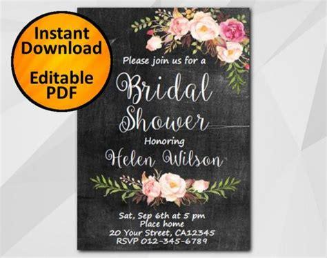 diy chalkboard bridal shower invitations editable bridal shower invitation chalkboard invitation