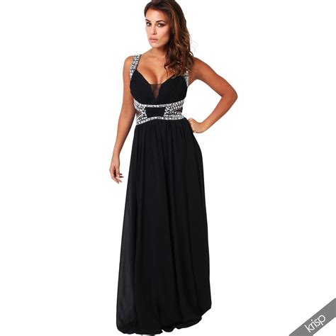 Dress Nak Nak 22 C womens formal diamante prom dress cocktail gown bridesmaid evening wedding ebay