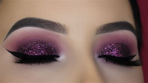 makeup tutorial in pictures purple mauve glitter eye makeup tutorial youtube