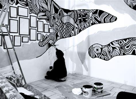 black  white street wall painting   fun
