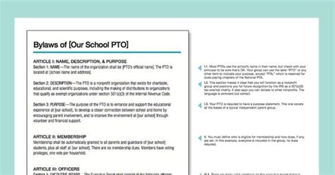 pta bylaws template use our annotated sle bylaws to update or create new