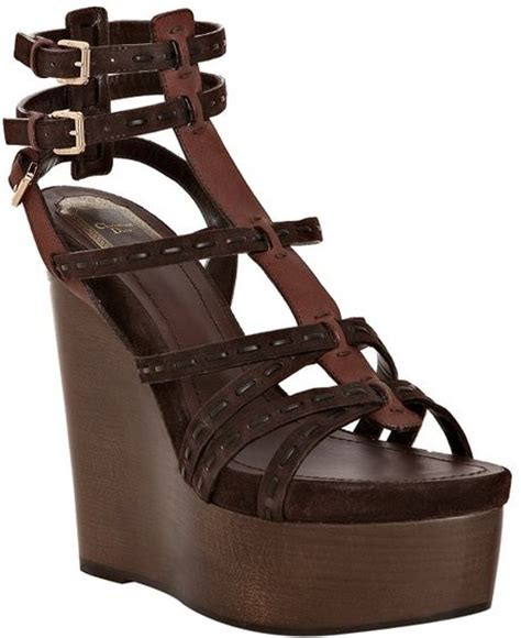 chocolate suede antica wedge sandals in brown