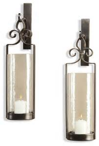Iron Candle Wall Sconce Pair Lisbon Iron Scroll Italian Bronze Wall Sconce Transitional Candles And Candleholders