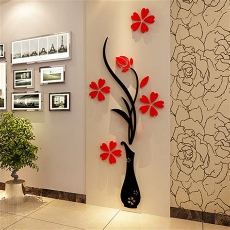wall sticker mirrors 3d mirror wall stickers vase plum flower 32 80 modern diy arcylic wall sticker bedroom