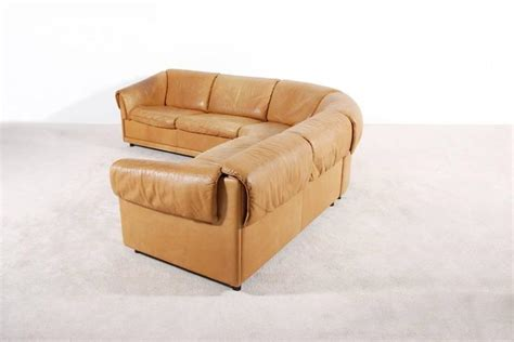 Large Leather Corner Sofas Large Cognac Leather Corner Sofa 1970s For Sale At 1stdibs