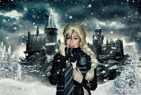 harry potter winter at 1406376086 winter at hogwarts with elsa cosplay frozen by missweirdcat on
