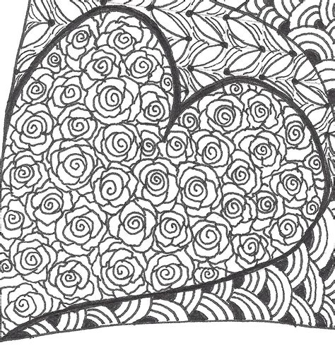 zentangle pattern rose rose heart zentangle just4crafters