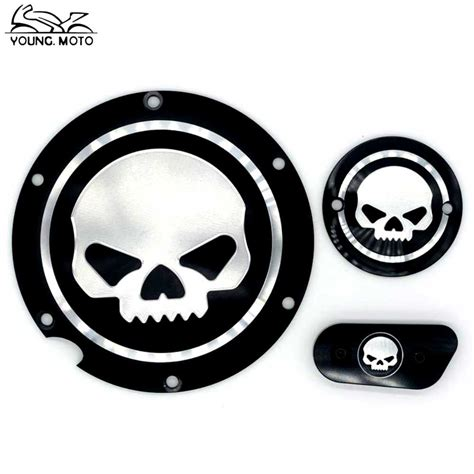 Cover Motor Hitam Xl skull motocycle cnc derby timing timer cover engine for
