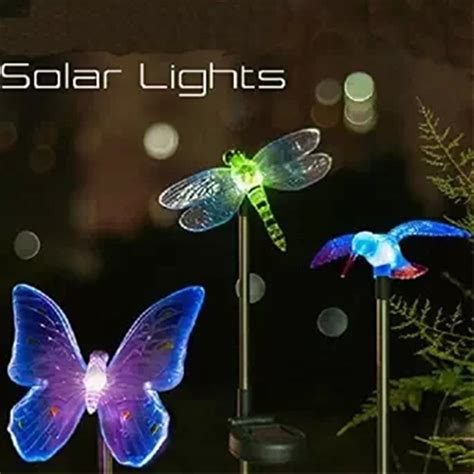 changing color solar lights outdoor 3 pcs solar powered garden yard stake color changing led