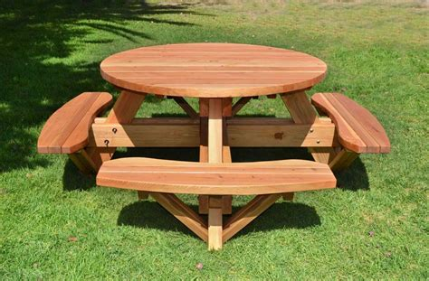 picnic bench table round picnic tables with attached benches built to last decades forever redwood