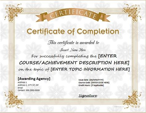 certificate of completion template word 25 best ideas about certificate of completion template on