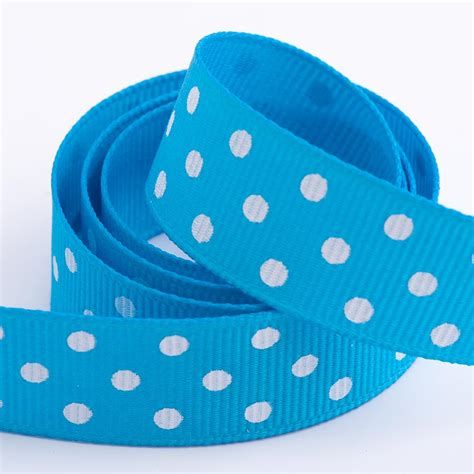 turquoise polka dot grosgrain ribbon at favour this