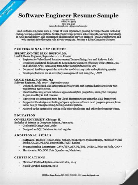 Sle Of Resume For Computer Engineer As Fresher sle resume format for software engineer 28 images