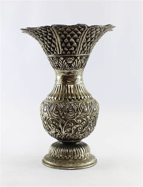 Vases Antique by Handcrafted White Metal Antique Finish Flower Vase