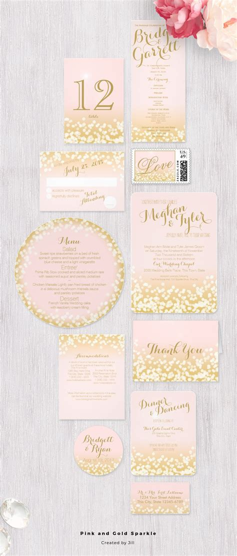 light pink and brown wedding invitations pink and gold sparkle light effect wedding invitation