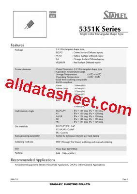 pdt stanley py5351k データシート pdf stanley electric co ltd