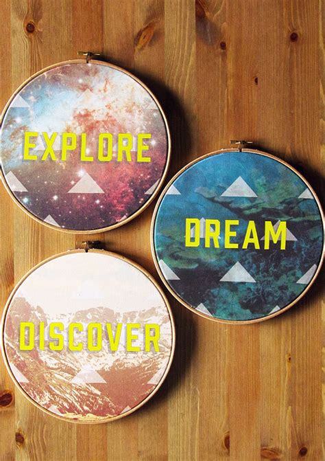 Canvas Decor Explore Discover items similar to explore discover set of three circular hoop 9 quot stretched cotton