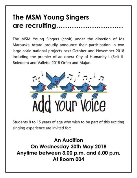 The Ms M by The Msm Singers Are Recruiting Malta School