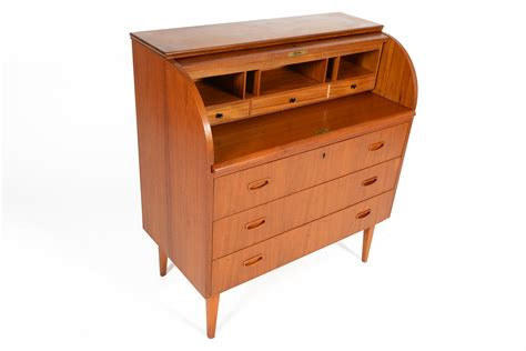 Modern Roll Top Desk Swedish Mid Century Modern Roll Top Teak Desk Ebay