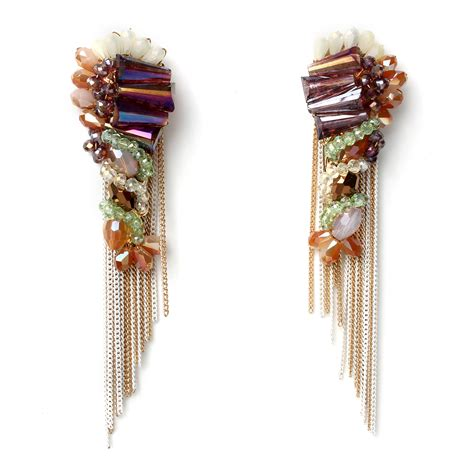 beaded fringe earrings beaded fringe earrings shop amrita singh jewelry
