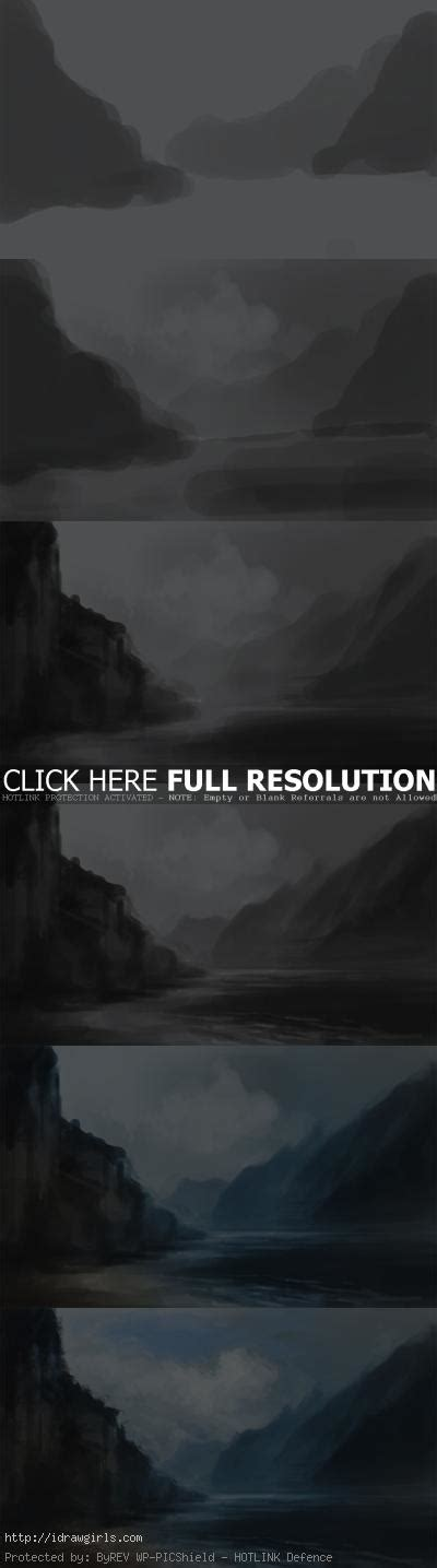 tutorial photoshop landscape how to paint landscape mountain river drawing and