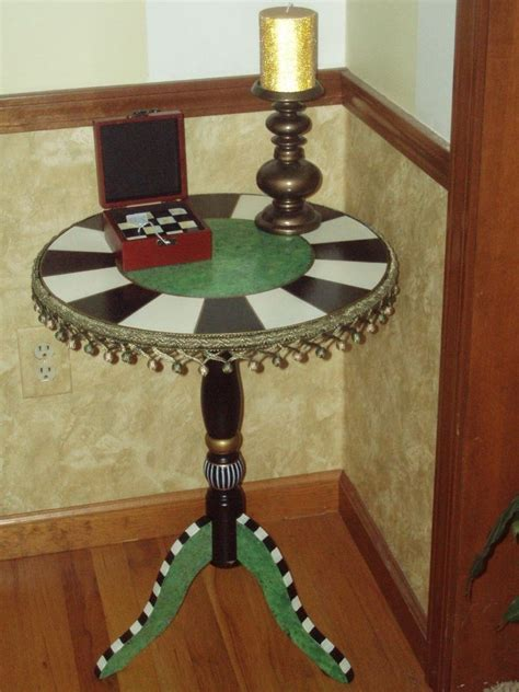 hand painted accent table hand crafted hand painted round pedestal accent side table