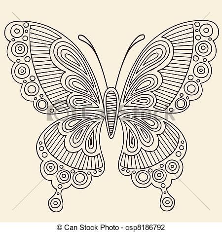 vector illustration of henna butterfly doodle vector