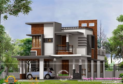 Low Cost Contemporary House House Elevation Indian Low Cost Modern House Plans In Kerala