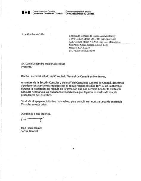 carta de invitacion visa canadiense carta de agradecimiento consulado canadiense