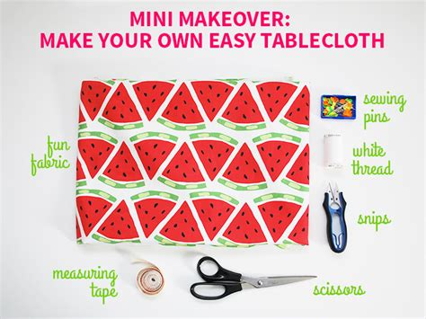mini makeover make your own easy tablecloth style for a