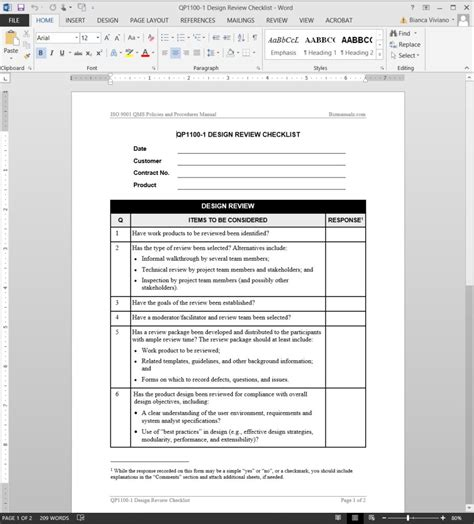 design review checklist iso template