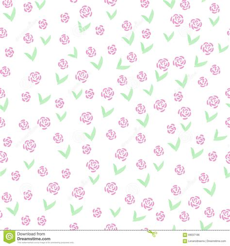 cute easy pattern hand drawn flowers cute simple seamless pattern stock