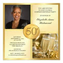 gold 50th birthday photo invitations