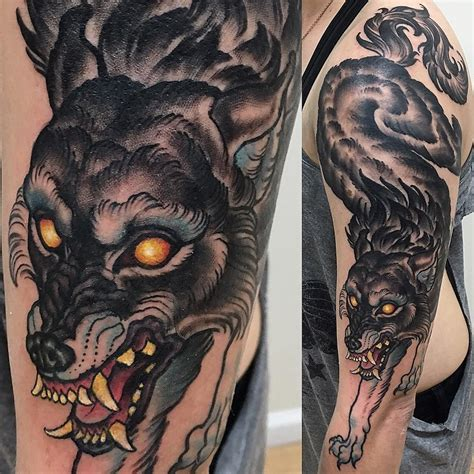 wolf traditional tattoo one one killed this wolf last noidolsnyc
