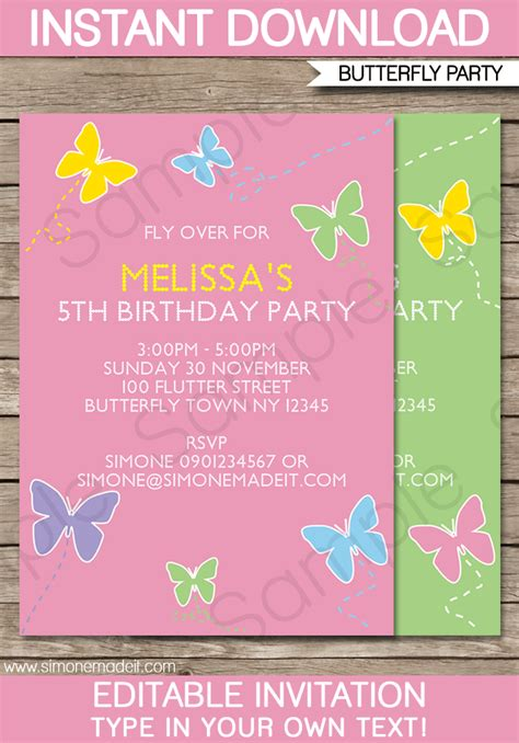 Butterfly Party Invitations Template Birthday Party Birthday Invitation Editable Templates