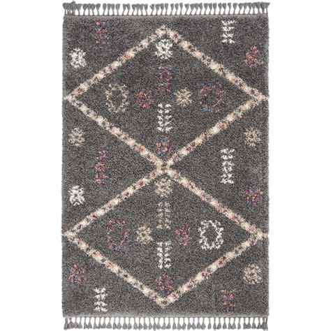 nourison nordic shag    grey scandinavian area rug