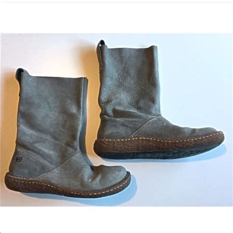 81 born shoes born gray boots leather suede pull on