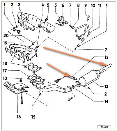 Vw Cabrio Exhaust System Diagram Oxygen Sensors Located On A 1997 Vw Cabrio For Replacement