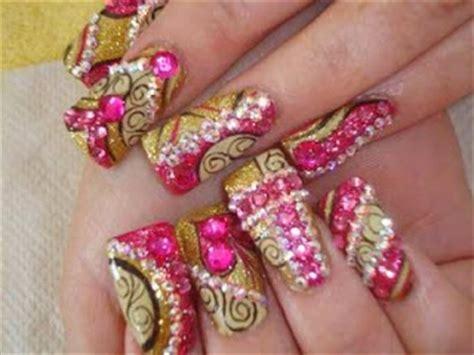 u 241 as de gel plata y fucsia nail gel pink silver youtube u 241 as decoradas ya u 241 as en dorado y fucsia con pedrer 237 a