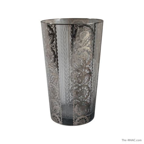 Silver Overlay Glass Vase by 1920 S Silver Overlay On Glass Vase With Etched Flowers