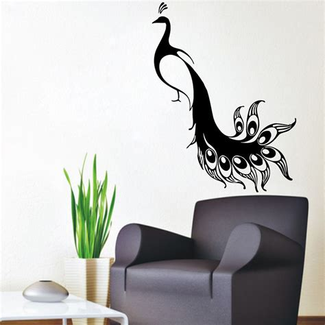 Peacock Feather Wall Sticker dctop modern wall stickers home decor bird animals