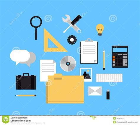 flat layout photography web folder with office icons stock vector image 38747212