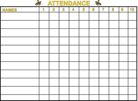 5 best images of free printable attendance charts free