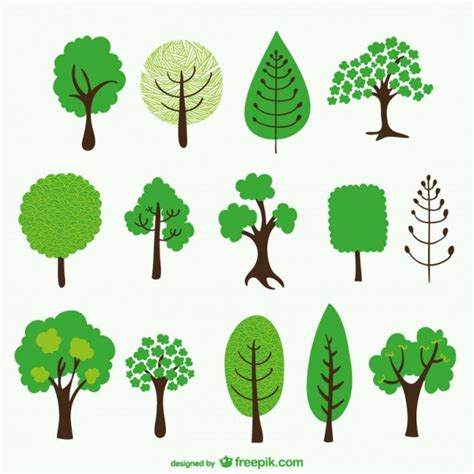 tree cartoons pack vector free download