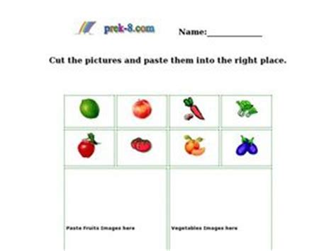 Classifying Fruits And Vegetables Worksheet classifying fruits and vegetables kindergarten 1st grade