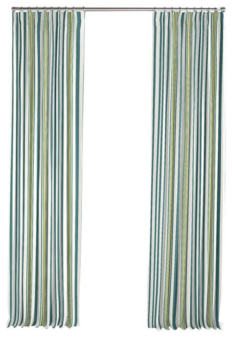 White And Teal Curtains White Teal And Green Stripe Pleated Curtain Single Panel Contemporary Curtains By Loom Decor