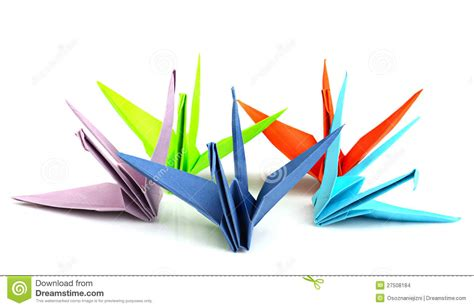 Colorful Origami - origami birds royalty free stock photography